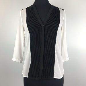 H&M Black and White Pleated Front Blouse Size 8